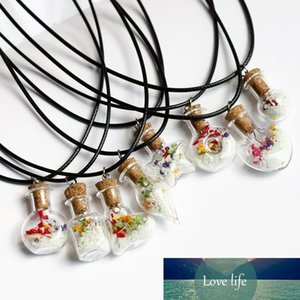 Hot sale New hand-made night light necklace dry flower drift wish bottle Lucky Pendant Necklaces Jewelry