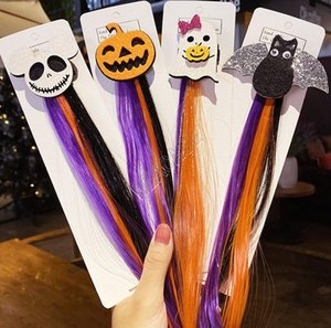 Halloween peruca colorida barrette cabelo clipe hairpin crianças meninas headress Santo Cat Bat Pumpkin Grampos Hallowmas Partido cabelo acessório D82706