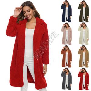 Пальто женщин шерп руно отворота Осень Зима теплая Длинные пальто Шинель Outwear Твердых Плюшевые Негабаритные куртка бутики кокон пальто 2020 D82607