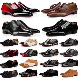 2020 chaussures hommes concepteur mocassins noir rouge brevet pic Slip en cuir sur robe de mariage appartements de chaussures pour la taille Business Party 39-47