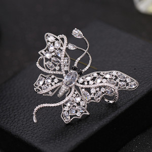 Korean fashion luxury high-end zircon butterfly brooch jewelry temperament ladies pins brand high-quality corsage coat accessories