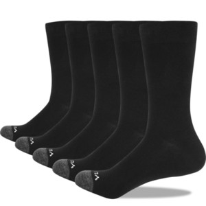 YUEDGE Brand High Quality Men's Deodorant Breathable Combed Cotton Black Crew Dress Socks Work Socks 5 Pair 38-47 EU 200924