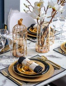Luxtry Or Métal Cage Oiseau Forme Vase Décoration Maison Salon dîner Table Bureau Florale Vase en verre