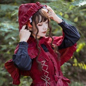 Piccolo cappuccio 2019 autunno e inverno scialle Lolita Dress Little Red Hat Cappello da equitazione Dress Garden Cape Red Broccato Danubio Nuovi amanti QVRCG