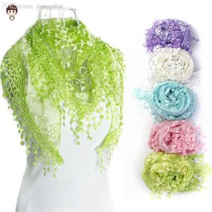 Wholesale-Freeshipping ! 2020 New Fashion Lace Tassel Sheer Burntout Floral Print Triangle Mantilla Scarf Wrap Shawl Alipower Whale Hot