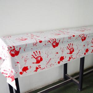 adereços Halloween Party Red sangrento Toalha de mesa tampa de plástico branco pano de tabela DIY Decoração tablecover
