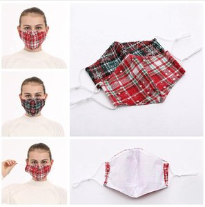 Christmas Cotton Mask Lattice Plaid Ear Loop Adjustable Washable Reuseable Breathable Masks Outdoot Anti Dust Party Mouth Cover LJJP449