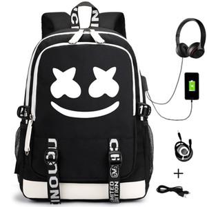 Spot American DJ Marshmello Zuckerwatte Rucksack Benutzerdefinierte Luminous USB Charging Rucksack Studententasche