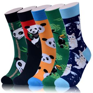 Pássaro Kitty homens Meias dos desenhos animados Panda estilo chinês bonito engraçado Rua colorida Hip feliz Skate Harajuku Hop Masculino Casual Algodão Sock
