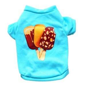 2020 Cute Ice Cream Print Summer tshirt Pet dog vest Small Medium Pet Puppy cat Clothes Breathable T-Shirt Chihuahua Pomeranian