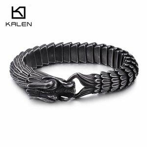 Punk Animal Dragon Head Charm Bracelet Men Stainless Steel Black Matte China Dragon Blessing Bracelet Bangle Jewelry