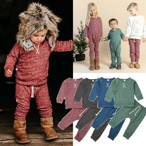 Fashions INS Fall New Baby Boys Girls Suits Newest Unisex Long Sleeve Plain Tops Pants Winter Autumn Newborn Toddler Kids Suits 2pieces Sets