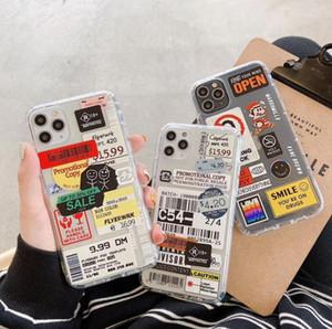 DHL 50PCS Coque TPU antichoc de l'étiquette rétro pour iPhone 7 8 x 11 Création de personnalité Creative Price Cas de téléphone portable pour iPhone 12 Pro Max