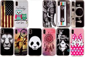 Bandeira EUA macio TPU IMD Case para Iphone X 8 7 6 6s Além disso Panda Dreamcatcher bowknot Lion Mão CD Elephant Owl Camera Feather dos desenhos animados Capa Gel
