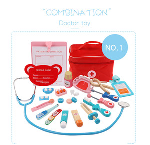 Children wooden toys, imitation cloth bags filled with medicine boxess, boys and girls over a doctor injection, toys and gifts
