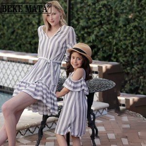 Family Dress Mommy And Me Clothes 2020 Summer Half Sleeve Family Look Mother Daughter Dresses Striped Mom And Daughter Outfit