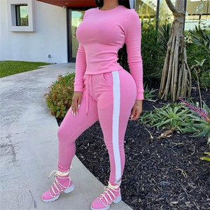 Women Tracksuit Sets Solid Color Two Pieces Long Sleeve Top T-Shirt Side Stripe Skinny Joggers Pants Female Sports Suits S-2XL X0923
