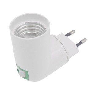 EU Plug PBT PP to E27 White Base LED Lamp Base Lampholder Adapter Converter Socket to E27