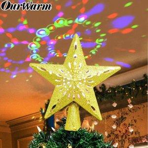 Ornamento de navidad 3D OurWarm la estrella del brillo LED Topper copo de nieve blanco Proyector láser árbol de Navidad para Año Nuevo Partido diciembre