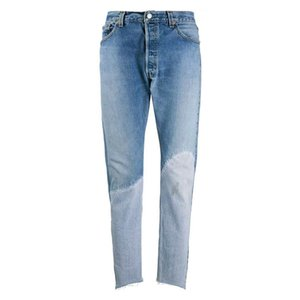 TOP 20SS Broken Splicing Denim Trousers Straight Slim-fit Stretch Denim Pants High Street Washed Jeans Fashion Casual Denim Pants HFYMKZ274
