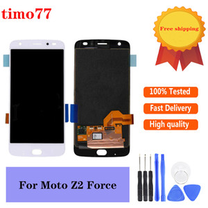Originale 5.5 pollici per Motorola Moto Z2 Forza Display Lcd di riparazione dello schermo Pezzi di montaggio No Frame nero con vetro temperato
