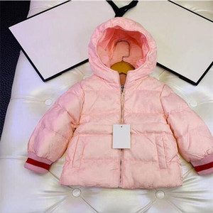 Fille d'hiver enfants Fashion Designer imprimé bébé fille manteaux à capuchon chaud outwear vêtements de détail pour les enfants