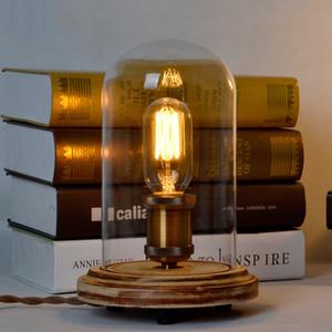 Wood Base Vintage Table Lamp American Country Спальня прикроватный свет Творческое исследование Настольная лампа
