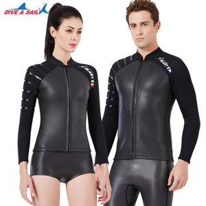 3mm Neoprene Long Sleeve Jacket Front Zipper Wetsuit Top in Women's Men's Wet Suit Dive Surfing Suits Black Smothskins