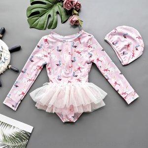 yJAwL langärmlige Kinder Badeanzug Kleid Mädchen einteiliges IR6EA Sonnenschutz Babykleid Badeanzug ins nette Prinzessin Kinder Princess