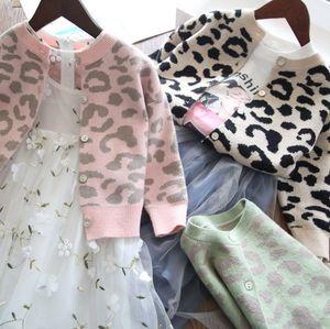 INS New Kids leopardo jacquard bambini cardigan colletto girocollo a manica lunga ragazze outwear maglia maglione cardigan A4118