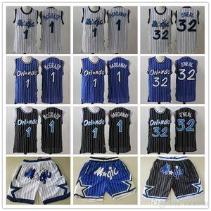Mens Orlando.MagieThrowback Jersey Shaquille 32 O'Neal Penny 1 Hardaway Tracy 1 McGrady Basketball Shorts Basketball-Trikots B