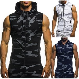Men's New Summer Camouflage Print Sleeveless Vest With Hood Back Personality Tailored Male Shirt Without Sleeve For Summer 3.28 0924