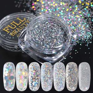 Nail Art Sequins Glitter Kits 8 Boxes Holographic Nails Powder Nail Art Sequins Metallic Shining Flakes Silver Nail Glitter Set