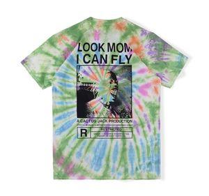 2020 Ins Hot Travis Scott Cactus Jack Blick Mom I Can Fly Tie Dye T Skateboard Mens Designer T-Shirt Frauen-T-Shirt Straße Lässige