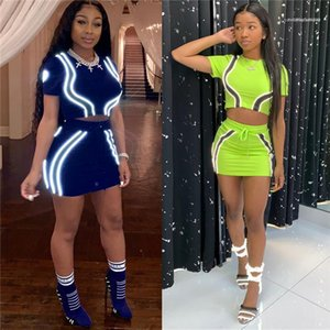 Neck Skirts Fashion Style Female Clothing Sexy Night Club Casual Apparel 3M Reflective Womens 2Pcs Summer Desinger Dresses Crew