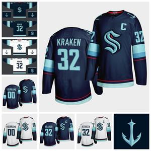 Seattle Kraken Jersey Hommes 32 Kraken 21 Kraken Jersey Saison 2021 Nouvelle équipe Bleu Blanc Blank Cheap Hockey sur glace Maillots personnalisés Cousu