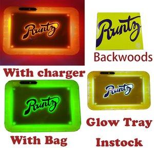 Runtz LED-Glühen Tray Hinterwälder Behälter Des Rollen Wiederaufladbare Alien Labs Dry Kraut-Speicher-Halter COOKIES Verpackung Tragetasche Halter USB-Ladegerät