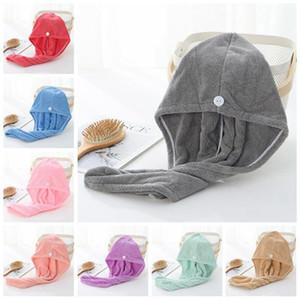 Cabelo seco Caps microfibra Quick Dry Shower Caps Cabelo Toalha Mágica Cabelo seco absorvente de secagem Turban Hat Spa de banho Caps IIA451