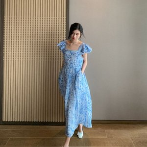 GRwoZ DT EDIZIONE 2020 foglia di loto collare floreale gonna piazza estate dei bambini manica vestito blu Summer Dress Francese