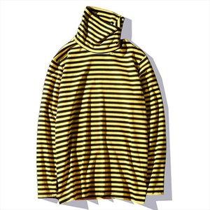2020 new Kpop Korean Harajuku Black and Yellow Striped Turtle Neck Long sleeved Cotton Oversized Loose Unisex
