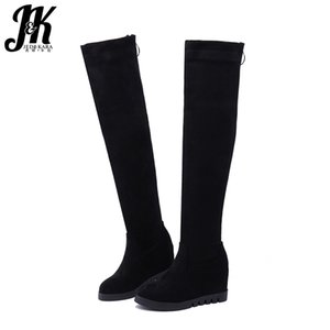 JK Insert Boots Women Stretch Flock Platform Boot Ladies Round Toe High Heels Shoes Zip Over The Knee Shoes Female Winter 2020