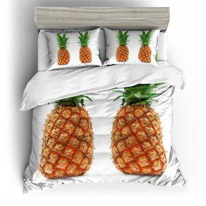 BEST.WENSD 3D Fruit quilt cover bedding set Pineapple california king full size bed set 2 3pcs luxury white beding Home Hotel