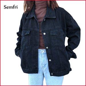 Semfri Jacket Black Women Denim Jeans Veste d'hiver Manteau Casual Harajuku Streetwear Femme Jeans Vintage Manteau Dropshipping LJ200813