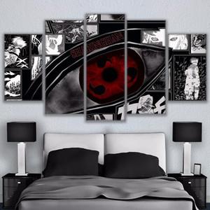 Modular Wall Art Pictures Canvas HD Impresso Anime pintura moldada 5 Pieces Naruto Sharingan Poster Modern Home Decor Quarto