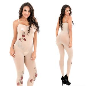 iHXOS 2019 Silk Stockings sexy estilingue damasco tatuagem Sling meias-range aberto cueca de seda de uma peça subiu sexy lingerie 6140C