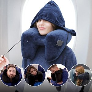 H-shaped Inflatable Travel Pillow With Hat Air Cushion Office Car Folding Lightweight Nap Neck Pillow Airplane Sleeping Cushion