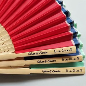 50pcs Personalized Luxurious Silk Fold hand Fan in Elegant Laser-Cut Gift Box +Party Favors wedding Gifts+printing