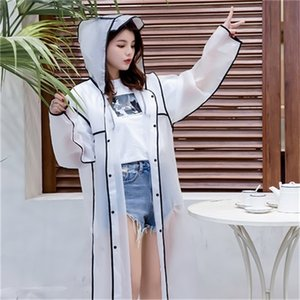 New Fashion Women's Transparent Eva Plastic Girls Raincoat Travel Waterproof Rainwear Adult Poncho Outdoor Rain Coat