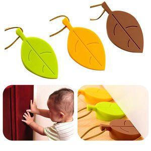 Kid Wedge de proteção de segurança de borracha de silicone Hot Porta Stopper Folha bonito Outono Estilo Home Decor Dedo bebê seguro Entradas Portões