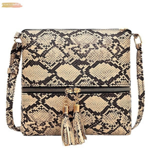 New Snake Pattern Bags For Women Tassel Serpentine Zipper Messenger Bag Brand Crossbody Handbag Lady Shoulder Bag T2